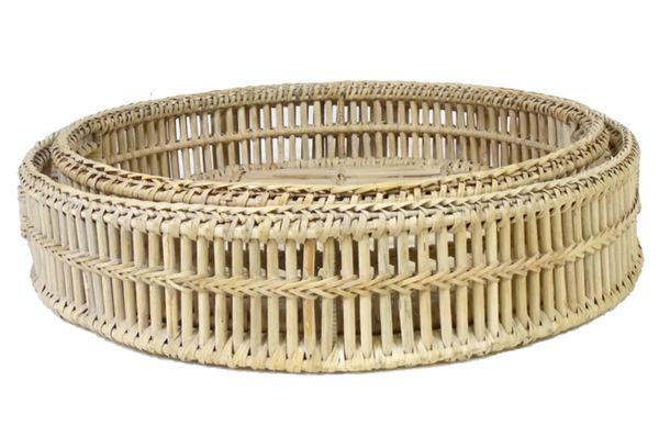Rattan Tray Round Whitewashed