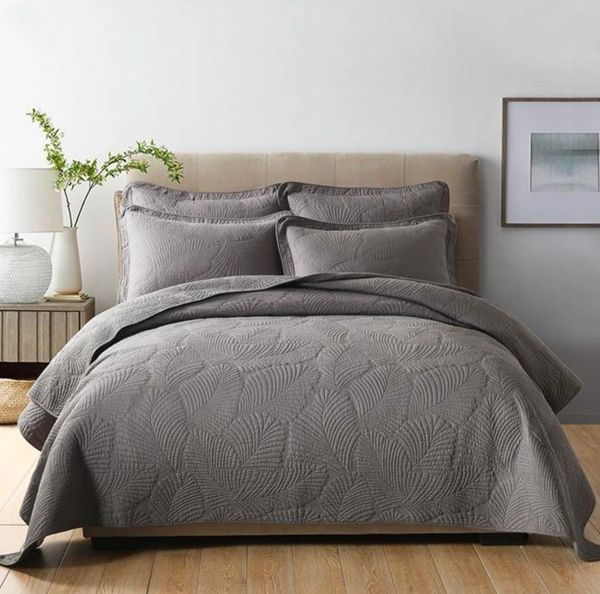 Palm Leaf Bed Coverlet- Dark Grey