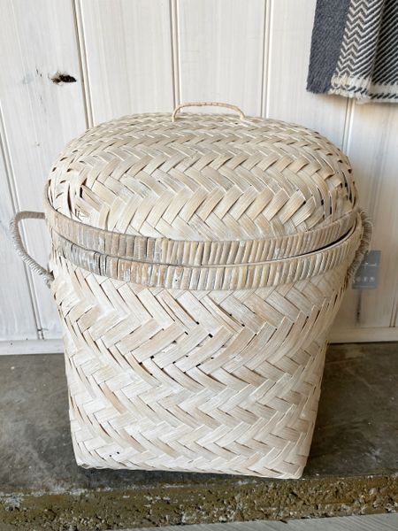 White Washed Cane Basket