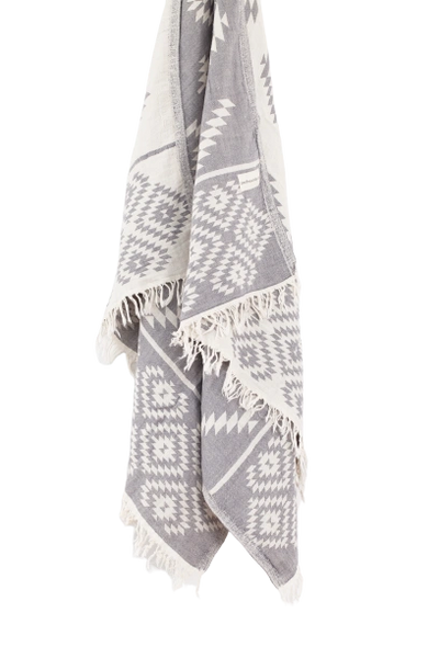 Aztec Turkish Towel- Dark Grey