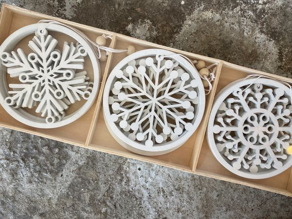 White Timber Hanging Decorations