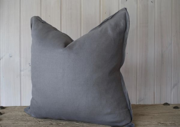Provence 100% Linen Cushion- Dark Grey