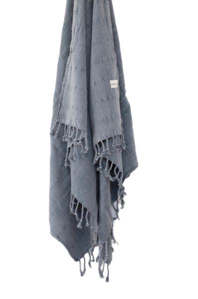 Stonewash Turkish Towel/Throw Denim Blue