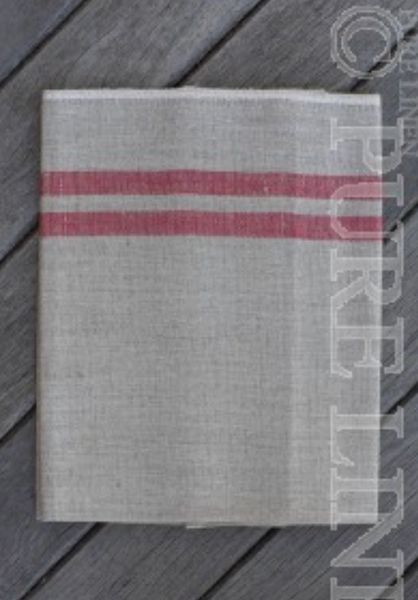 Pure Linen Table Runner- Natural and Red
