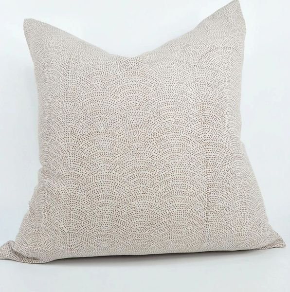Ochre Waves Linen Cushion