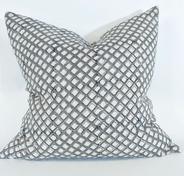 Grey Crosshatch Linen Cushion