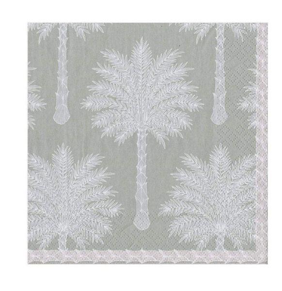 Grand Palm Lunch Napkins - Grey