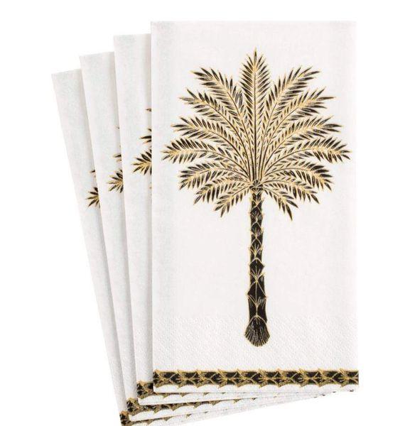 Grand Single Palm Lunch Napkins - Black