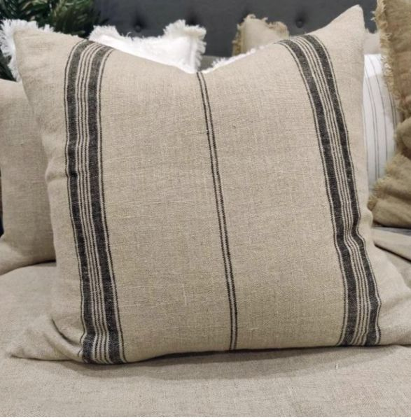 French Linen Striped Cushion 50cm