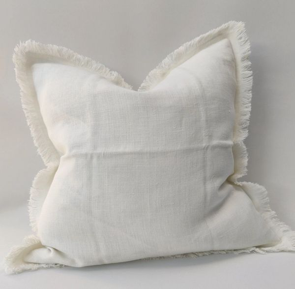 Riviera French Linen Cushion- Ivory