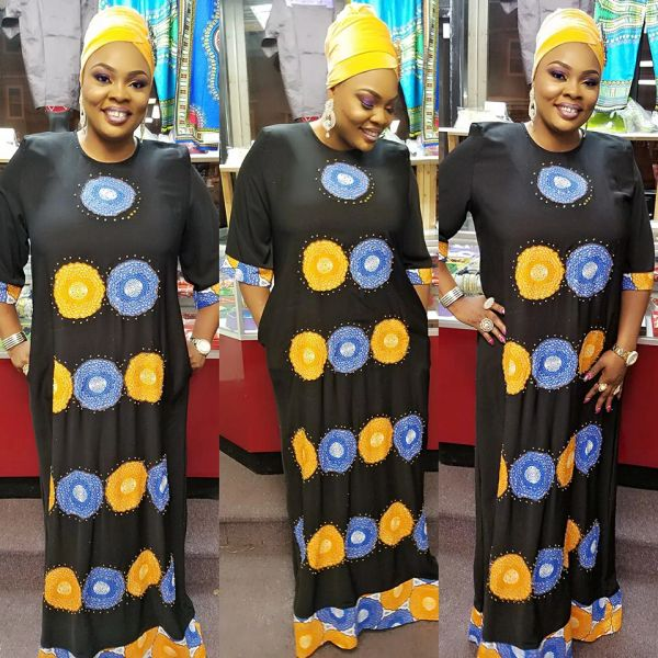 EMBELLISHED STONED ANKARA DRESS-2