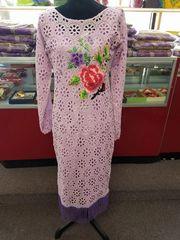 FLORAL EMBELLISHED CHORDLACE DRESS WITH FRINGES-79