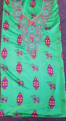 SILK FABRIC WITH NECKLINE APPLIQUES-14