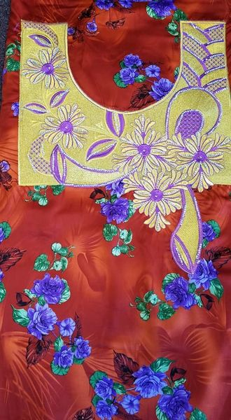 SILK FABRIC WITH NECKLINE APPLIQUES-15
