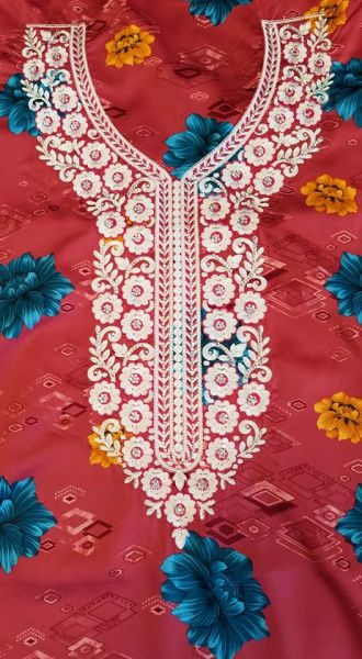 SILK FABRIC WITH NECKLINE APPLIQUES-16