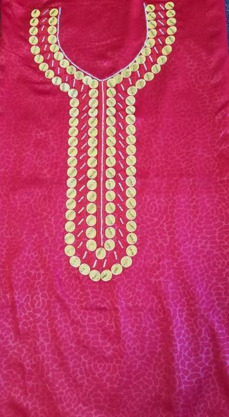 SILK FABRIC WITH NECKLINE APPLIQUES-19