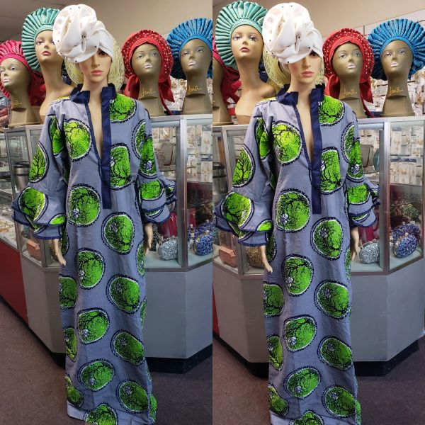 EMBELLISHED ANKARA DRESS-183