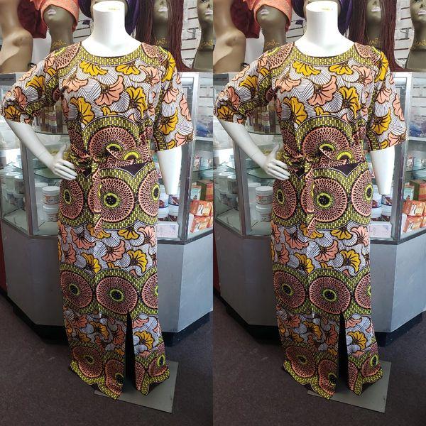 EMBELLISHED SPLIT ANKARA DRESS-211