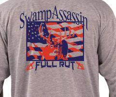 New Swamp Assassin Full Rut Longsleeve (Ash Heather Grey:Red/Navy)