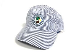 Seersucker Mallard Crest Golf Hat (White/Navy)