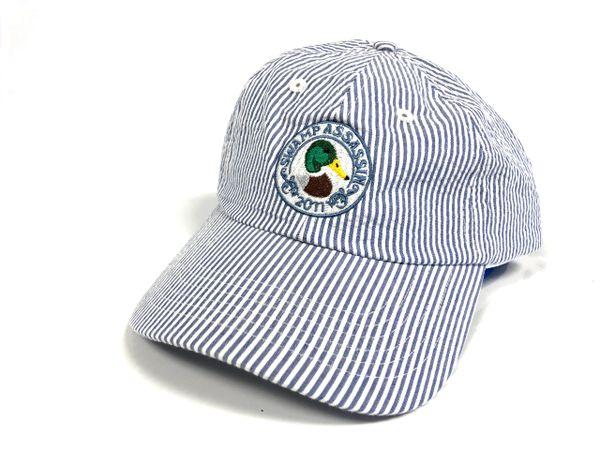 Seersucker Mallard Crest Golf Hat (White/Navy)