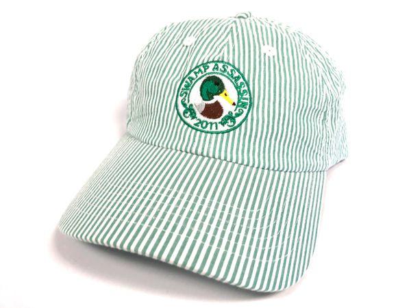 Seersucker Mallard Crest Golf Hat (White/Green)