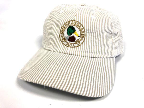 Seersucker Mallard Crest Golf Hat (White/Khaki)