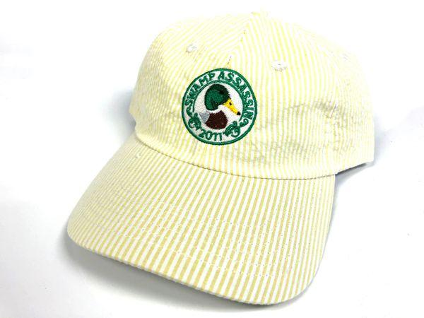Seersucker Mallard Crest Golf Hat (White/Yellow Gold)