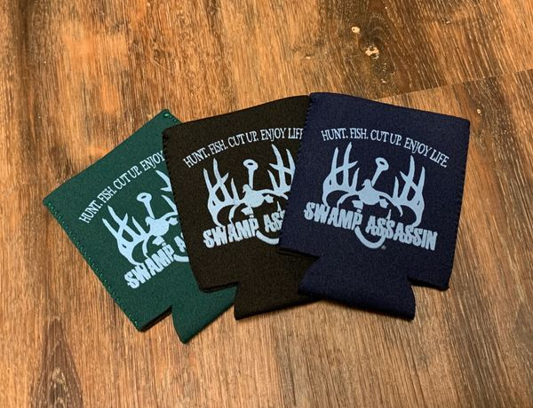 New Slim Fit Neoprene Swamp Assassin Hunt Fish Cut Up Enjoy Life Koozies