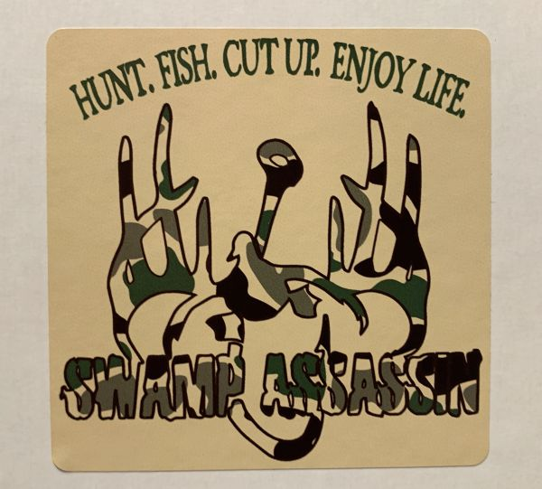 Swamp Assassin Logo Old School Camo Decal