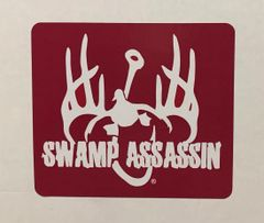 Swamp Assassin Logo Crimson Red and White Decal