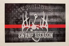 Swamp Assassin Old Glory Thin Red Line Decal