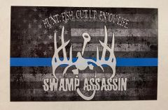 Swamp Assassin Old Glory Thin Blue Line Decal (3 in tall x 4.75 in wide)