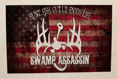 Swamp Assassin Original Old Glory Decal (3 in tall x 4.75 in wide)