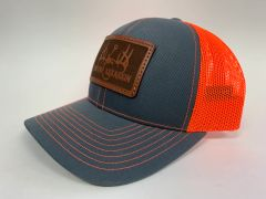 NEW SADDLE LEATHER SERIES LOGO SNAPBACK NEON ORANGE/GREY **LIMITED STOCK*