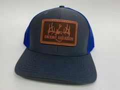 NEW SADDLE LEATHER SERIES LOGO SNAPBACK GREY/ NEON BLUE **LIMITED STOCK**