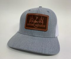 NEW SADDLE LEATHER SERIES LOGO SNAPBACK HEATHER GREY/WHITE **LIMITED STOCK**