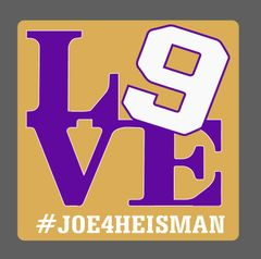 "#JOE4HEISMAN ""LOVE 9"" Decal (3""x 3"")"