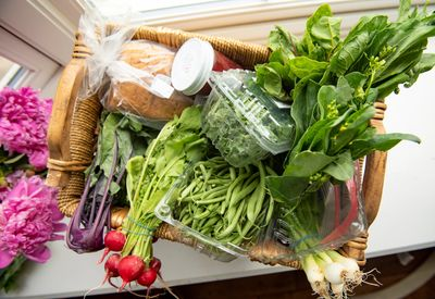 Fresh, organically grown vegetables all put in a CSA box for you.  Greens, onions, radishes, etc.