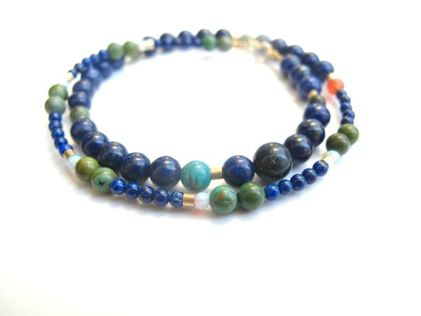 14 kt gold tube beads bracelet turquoise lapis white opal bead wrap strand natural gemstone solid gold