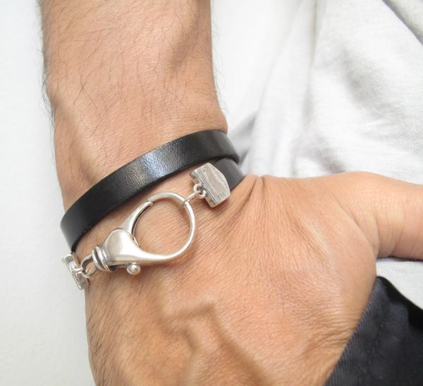 luxuriuos extra large 925 sterling silver solid clasp closure Italian leather bracelet cuff bangle double wrap heavy silver
