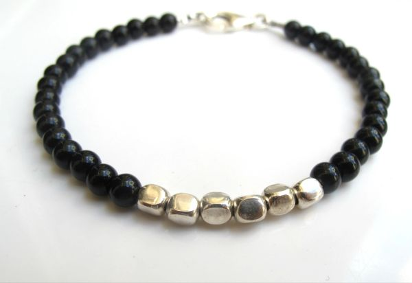 Black onyx beads silver bracelet natural gemstone bead strand handmade jewelry
