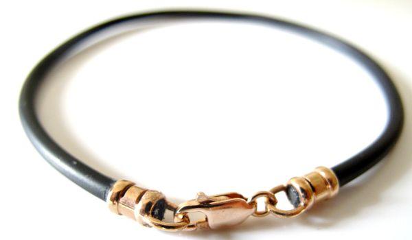 14k solid rose gold black silicone cord bracelet
