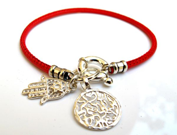 Kabbalah red string sterling silver shema prayer hamsa star of David silver charm bracelet life saver for good luck and protection talisman
