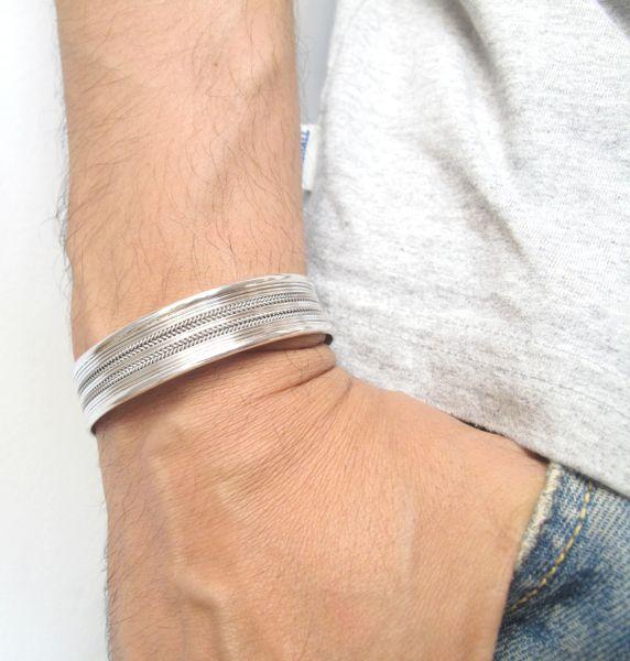 925 Sterling silver solid cuff bangle handmade artisan bracelet men unisex jewelry fine silver wide heavy