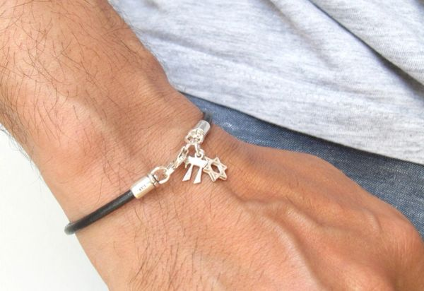 kabbalah bracelet star David chai charms sterling silver black leather bangle