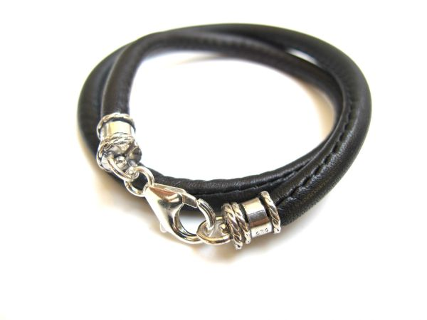 925 sterling silver premium leather wrap bracelet