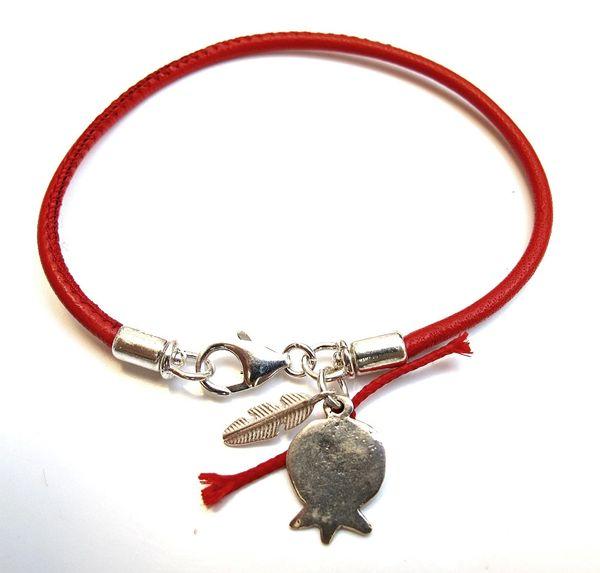 Kabbalah red string bracelet for prosperity feather pomegranate sterling silver