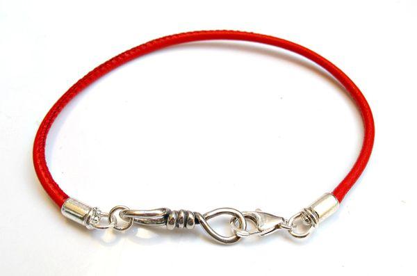 Kabbalah red leather bracelet unity bonding 925 silver charm talisman for luck