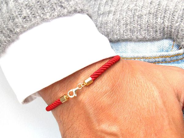 Kabbalah pure red silk cord 14 k solid gold bracelet luxurious dainty good luck against evil eye spiritual jewelry